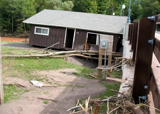 building against bridge