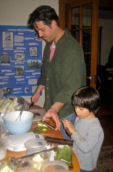 cookie project jeremy and albie in kitchen