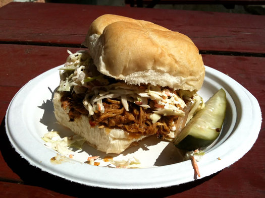 capital q pulled pork sandwich