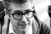 ira glass closeup bw