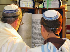reading the torah at a bar mitzvah