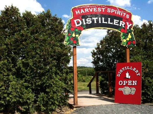 harvest spirits distillery sign
