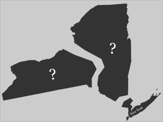 new york map broken in three parts question