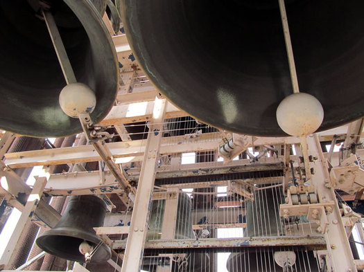 albany carillon bells looking up