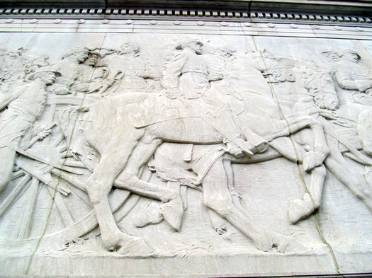 soldiers and sailors monument relief closeup