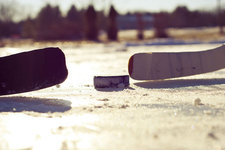 puck hockey sticks outdoor rink flickr TAZphotos