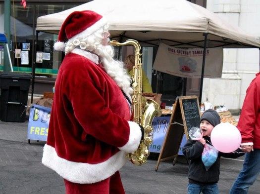 santa saxophone Troy Victorian Stroll