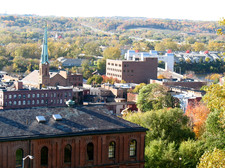 downtown Troy from hill Collar City Bridge background