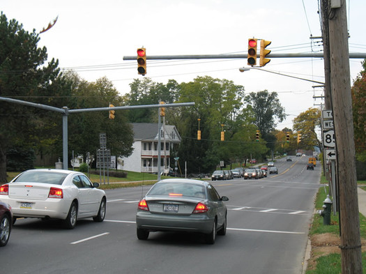 western ave intersection red light crosswalk