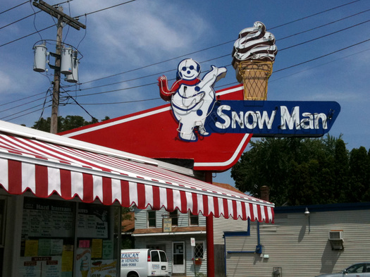 snowman ice cream sign troy