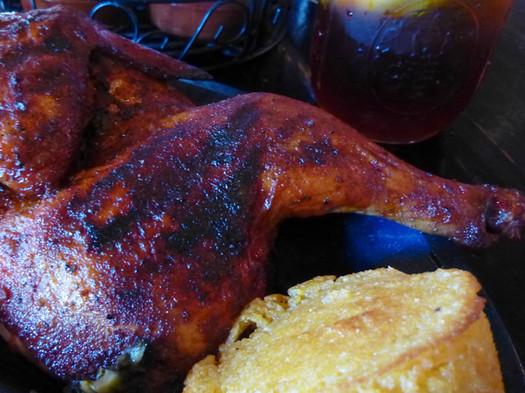 dinosaur bar-b-que chicken closeup