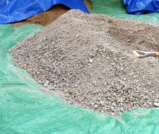 gravel and sand on tarp