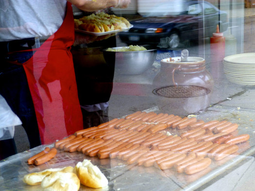 famous lunch front window hotdogs