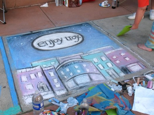 Sidewalk chalk Troy River Street Festival 2013