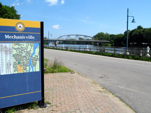 mechanicville waterfront bridge sign