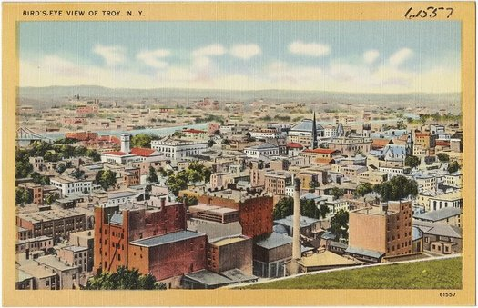 old postcard overlooking Troy