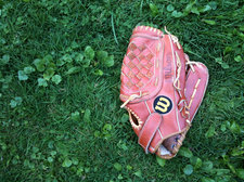baseball glove in grass
