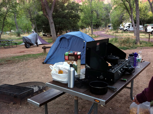 camp stove at campsite