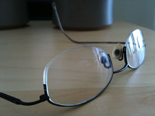 eye glasses on a table closeup