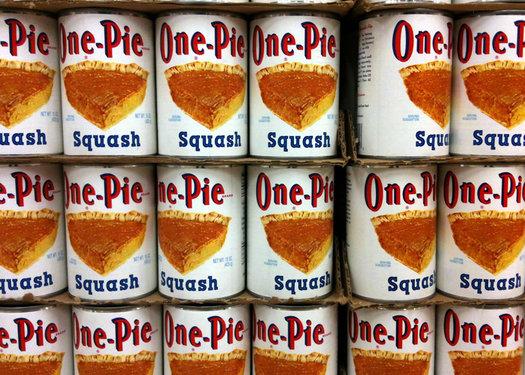 one-pie brand squash cans on shelf