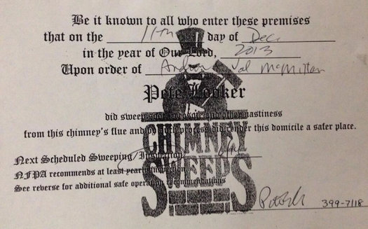 pete looker chimney sweep receipt val