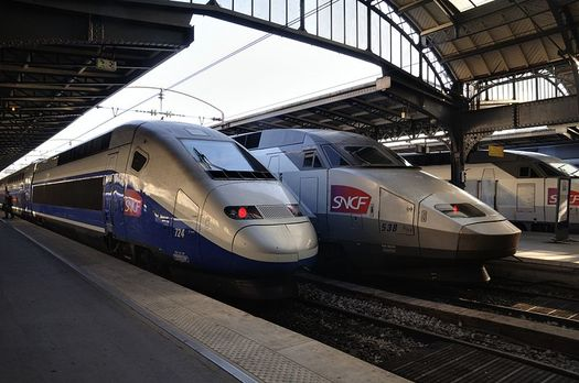 TGV trains in Paris by Wikipedia user Taxiarchos228 cc