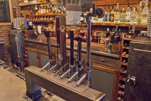 The Shop beer tap handles