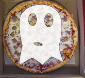 ghost in pizza illustration