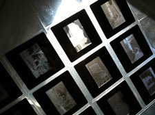 photo slides held up to window
