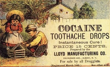 cocaine toothache drops ad 1885 lloyd manufacturing albany