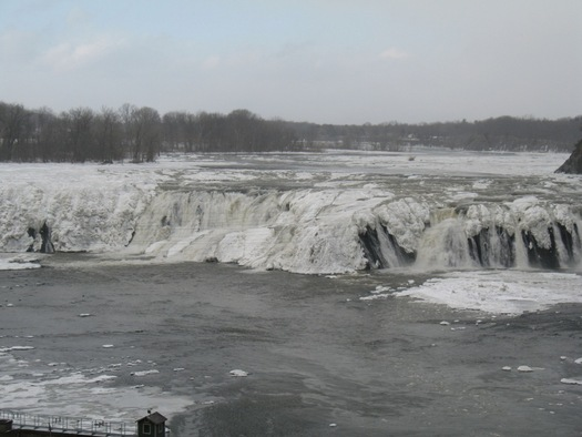 cohoes falls partially frozen