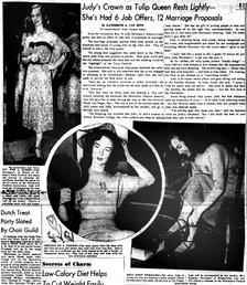 Albany Knickerbocker News 1951 Judy Davenport tulip queen