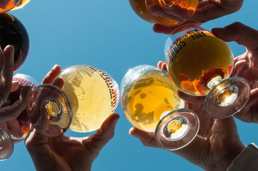 shmaltz brewing beer glasses sky