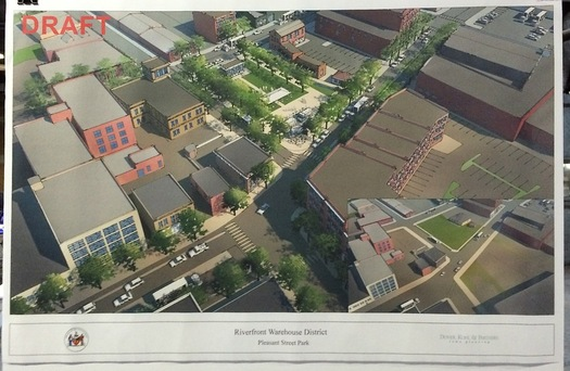draft rendering area of Broadway, Thacher Street, and Pleasant Street