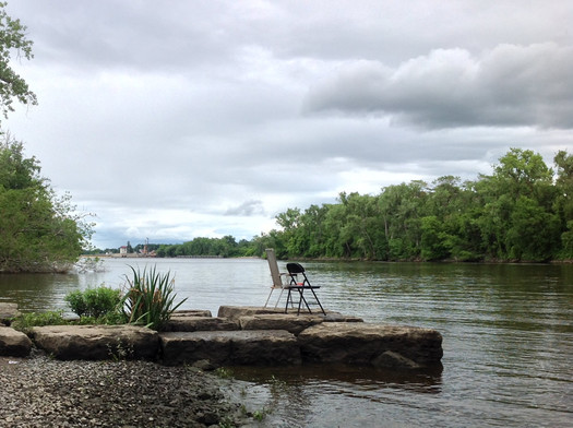 center island chairs along water