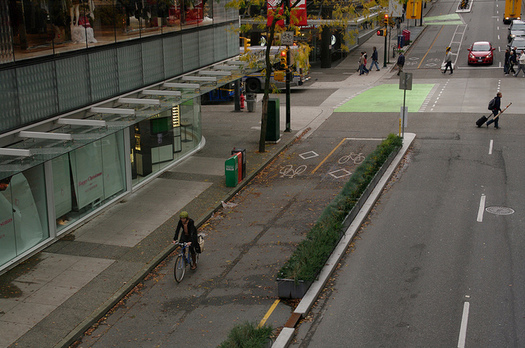 protected bike lane vancourver by flickr paul krueger cc