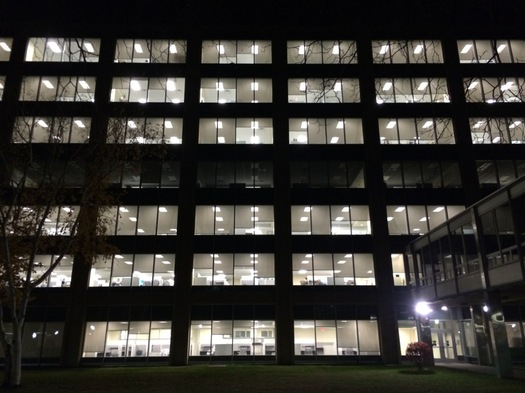 harriman state office campus building 5 at night