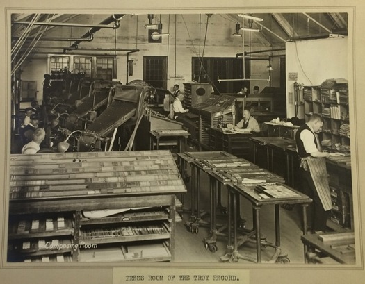 troy record composing room circa WWI