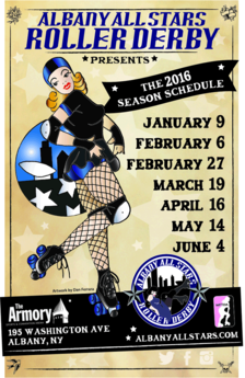 2016 Albany All Stars Roller Derby Season poster