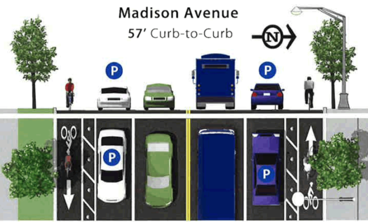 madison ave road diet protected bike option