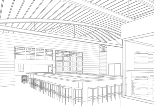 897 Broadway wine bar proposal interior rendering