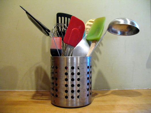 kitchen tools in metal holder