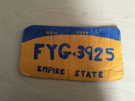 cardboard license plate Erie County sheriff