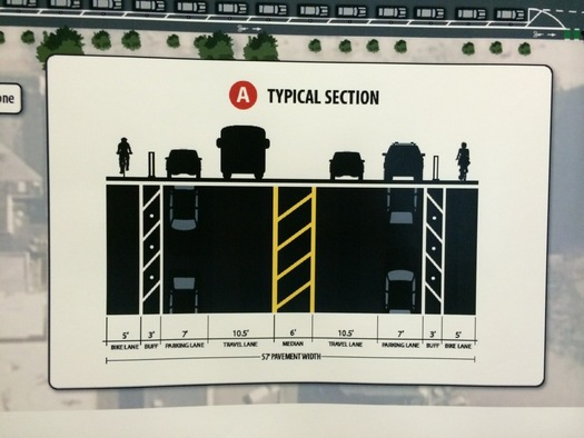Madison Ave Road Diet protected bike lane option