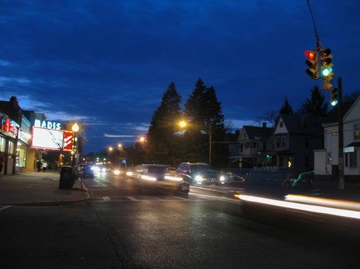 madison ave at main traffic at night