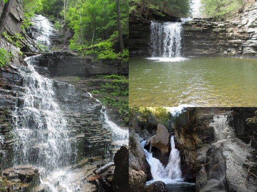 spring waterfall hikes composite