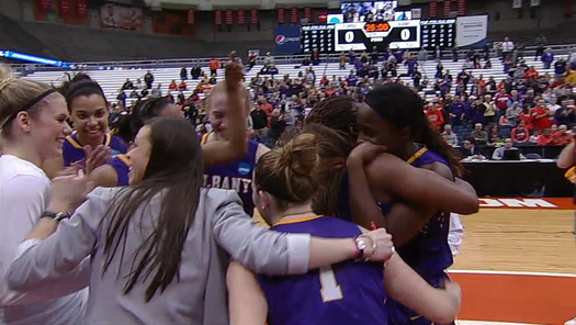 ualbany women celebrating upset over florida