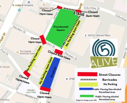 Alive at Five 2016 venue map