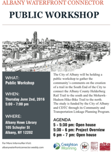 albany waterfront connector meeting poster