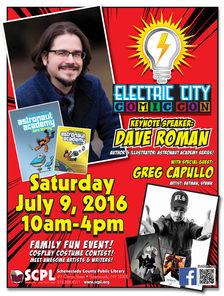2016 SCPL Electric City Comic Con poster